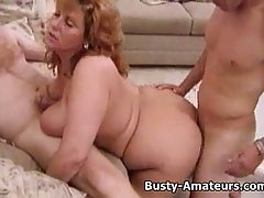 Chubby blonde milf, Mindy Jo is having a hardcore sex adventure with her husband and his friend